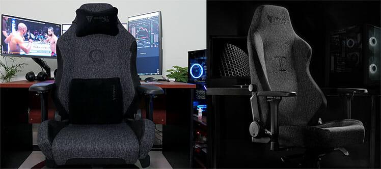 Triple Black Secretlab chairs under dark and bright lighting