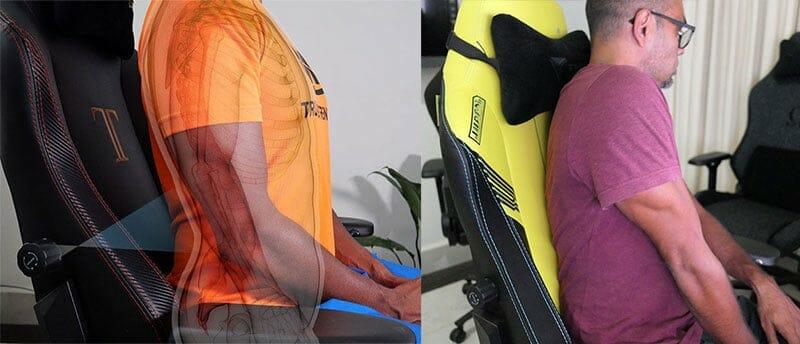 Gaming chair internal lumbar support benefit