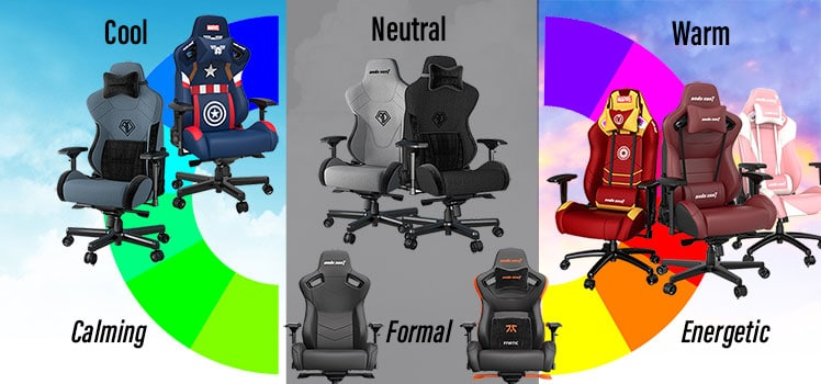 Anda Seat chairs on a color wheel; color theory