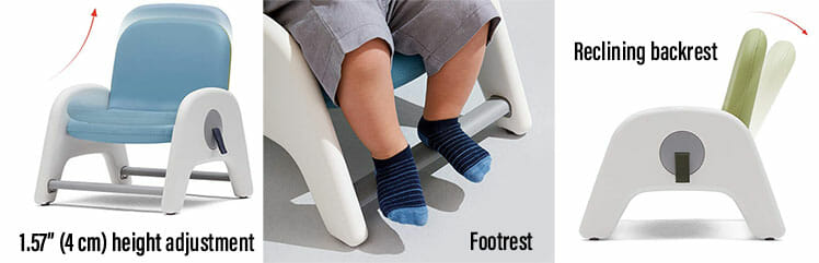 Height adjustable chair for children
