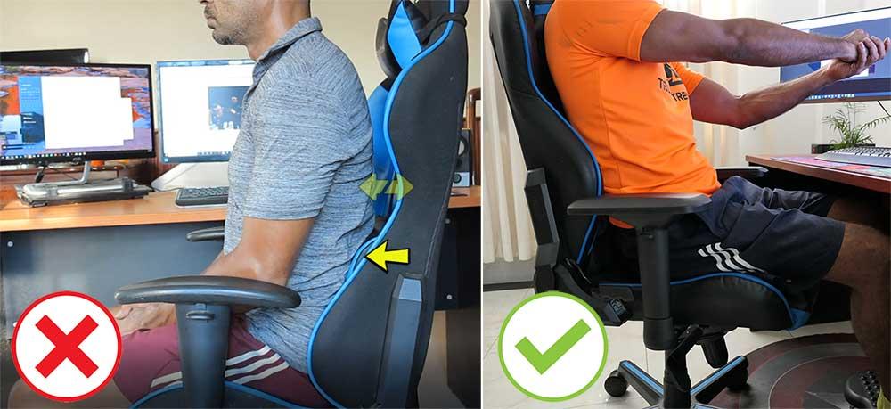 Lumbar pillow gap in DXRacer chairs