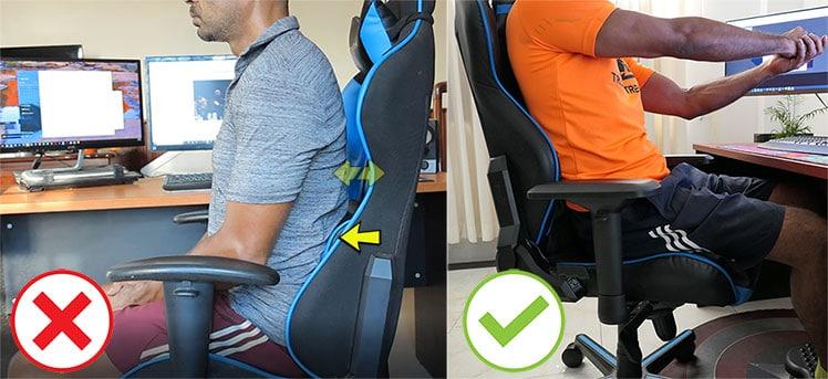 DXRacer lumbar pillow position