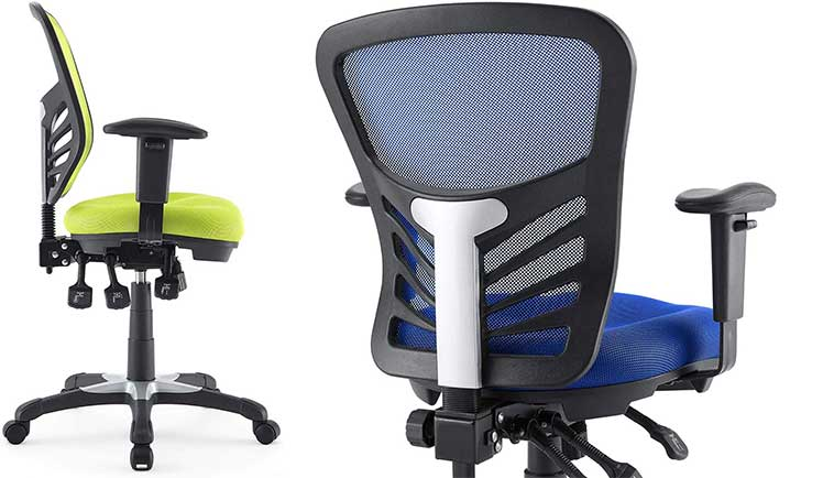 Modway EEI-757-BLK Articulate Ergonomic Mesh Office Chairs in Yellow and Blue