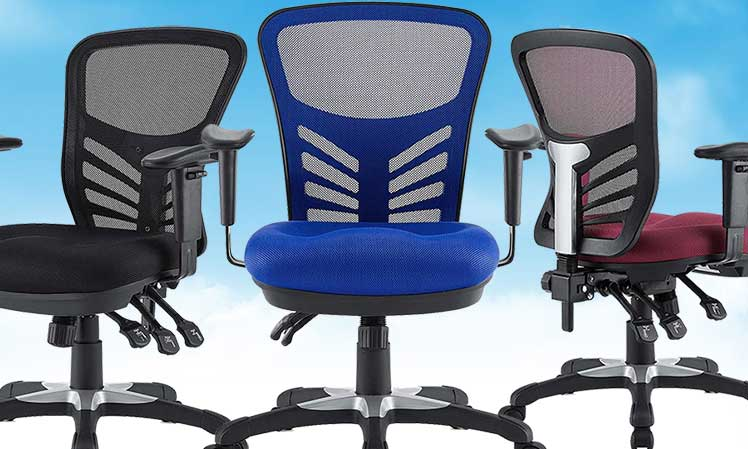 Modway Articulate Ergonomic Mesh Office Chairs in black, blue and red