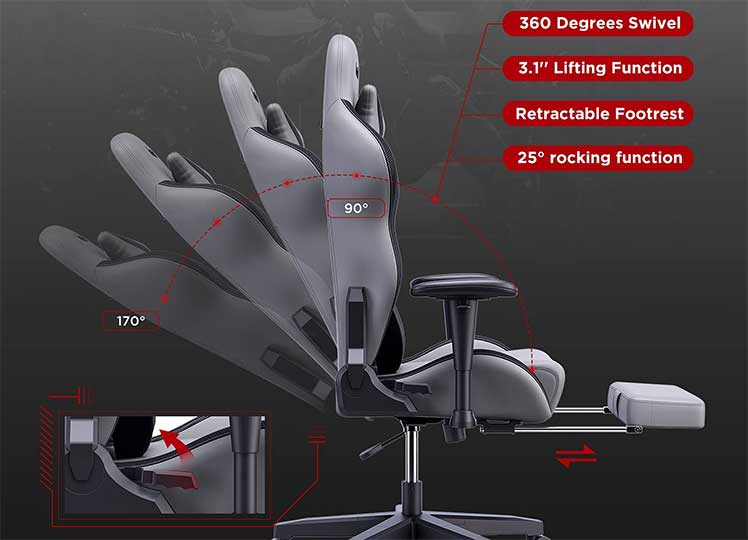 Autofull gaming chair with footrest