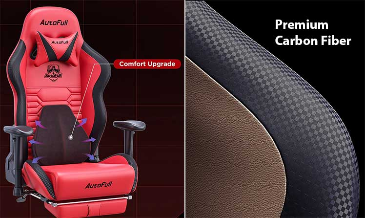 Autofull footrest gaming chair features