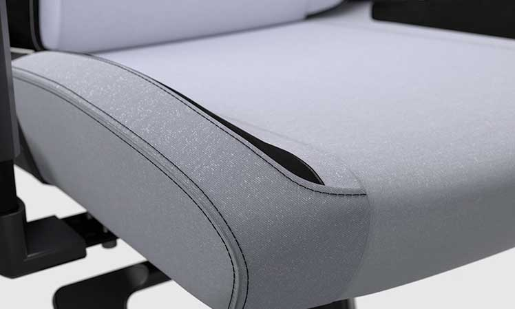 SoftWeave Fabric Arctic White gaming chair seat