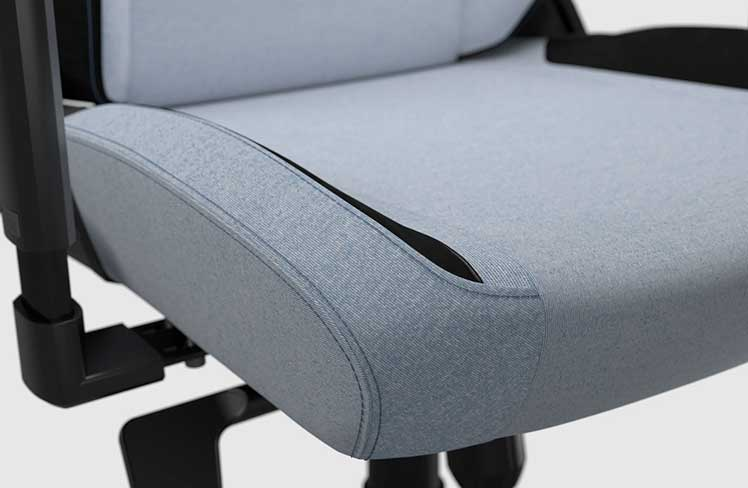 SoftWeave Fabric Frost Blue gaming chair seat