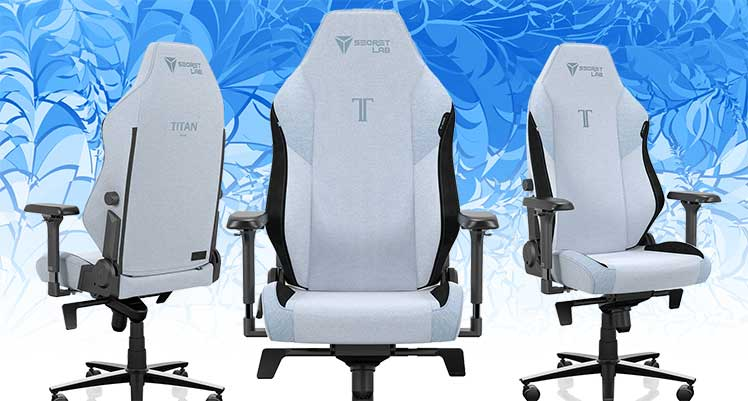 SoftWeave Fabric Frost Blue gaming chair