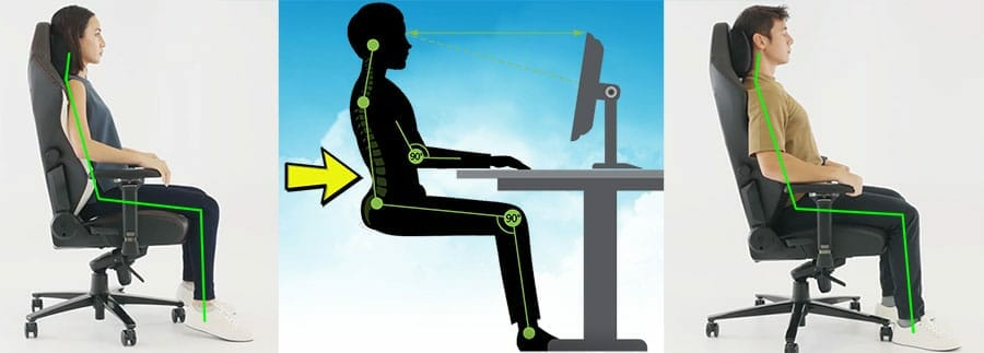Neutral postures in a gaming chair