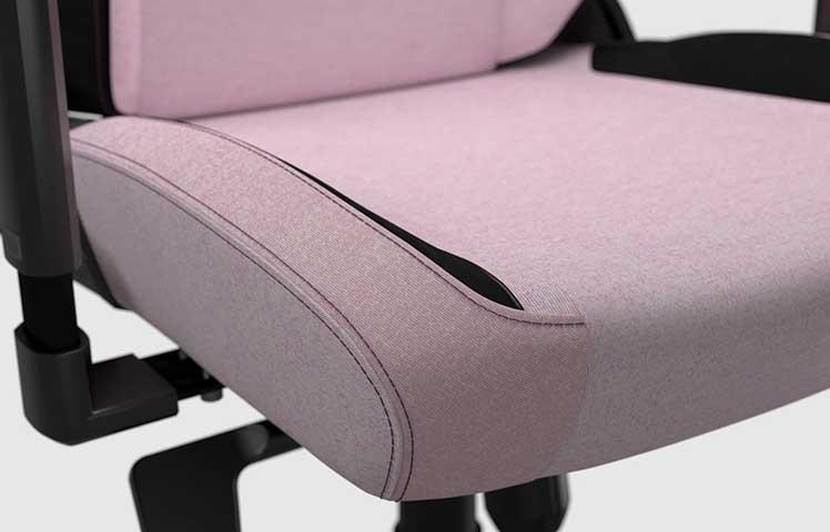 SoftWeave Fabric Plush Pink gaming chair seat