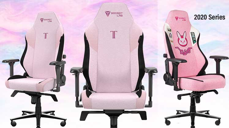 SoftWeave Fabric Plush Pink gaming chair
