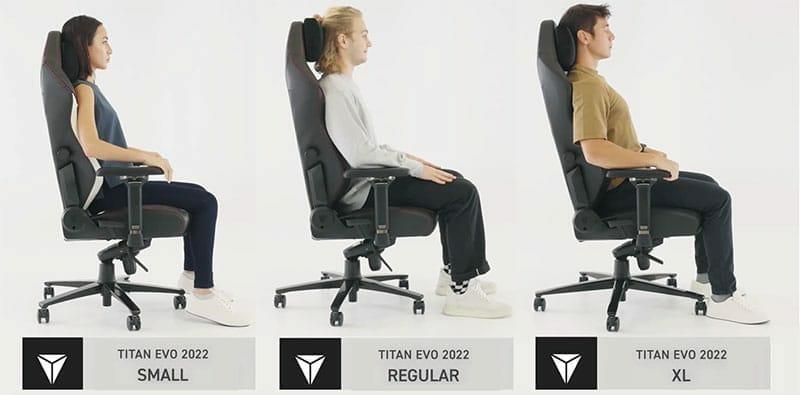 Titan EVO chair sizes