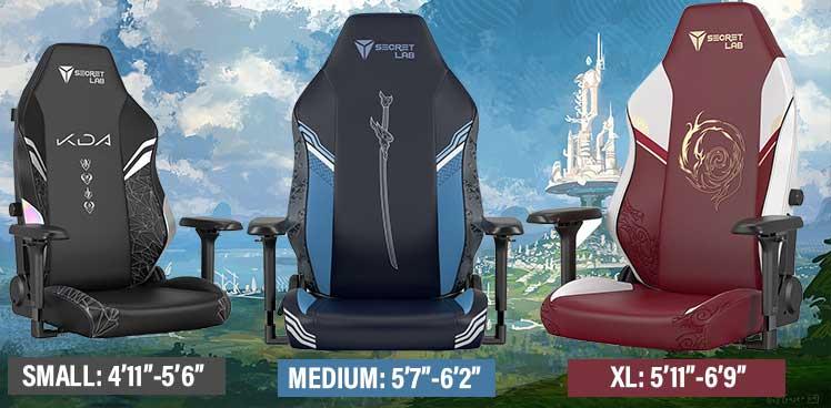 Secretlab League of Legends chair sizes
