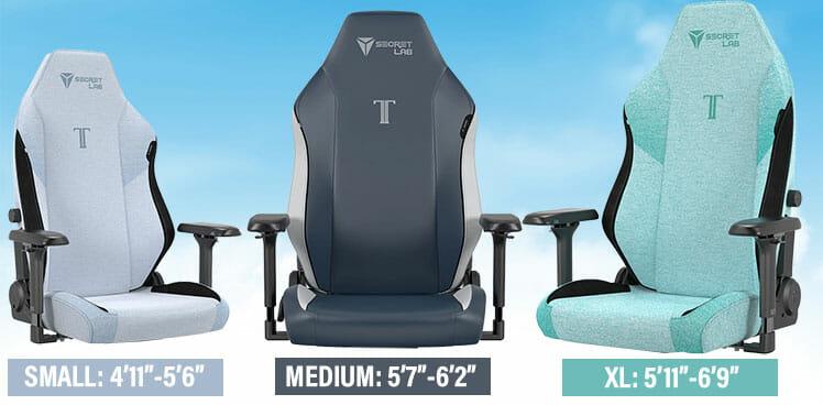 Titan EVO 2022 Series chair sizes