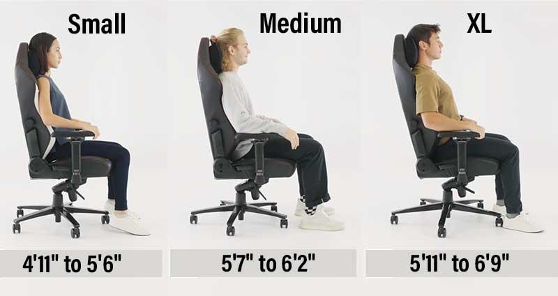 Three gaming chair sizes: small, medium, extra large