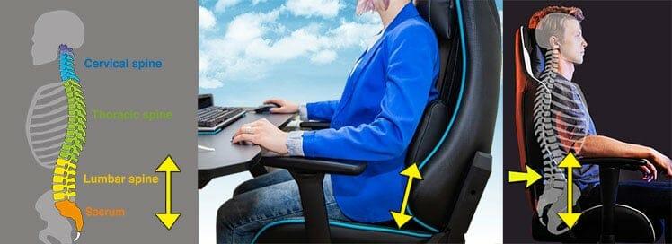 Gaming chair lumbar pillow height