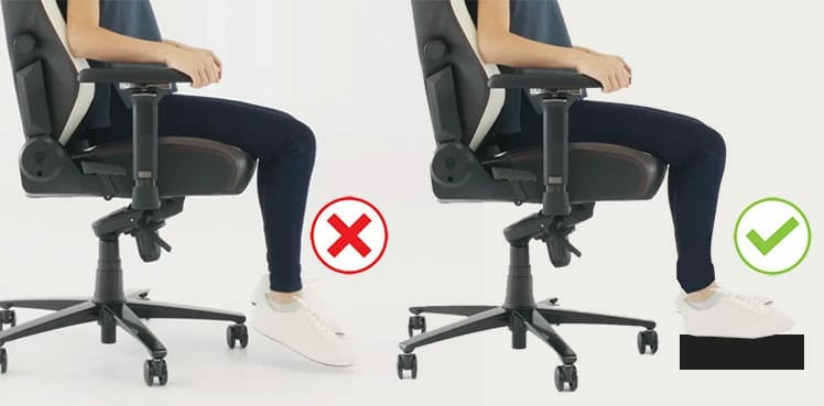 Planting your feet while sitting in a gaming chair