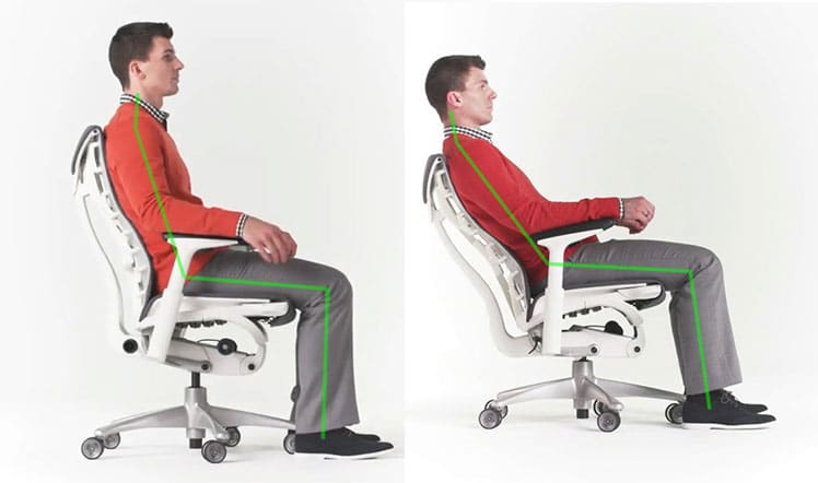 Neutral sitting in an Embody chair