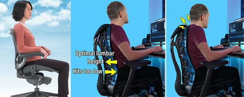 Embody chair back support problems