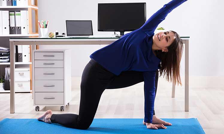 Desk worker taking breaks for exercise