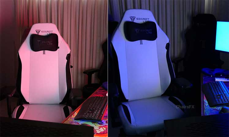 RGB effects off of a white gaming chair