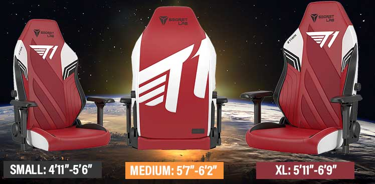 T1 Esports gaming chair sizes