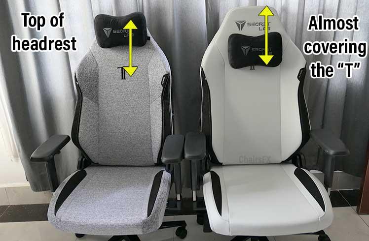 Titan 2022 Series headrest adjustment range