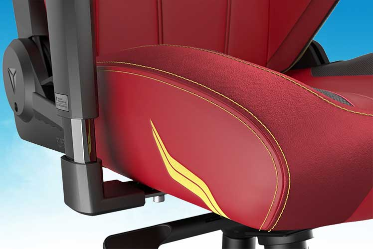 The Flash gaming chair suede seat closeup