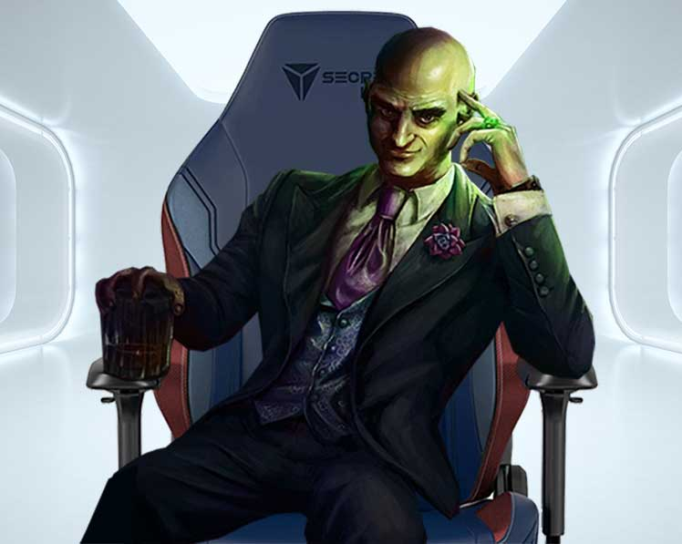 Lex Luthor sitting in Superman gaming chair